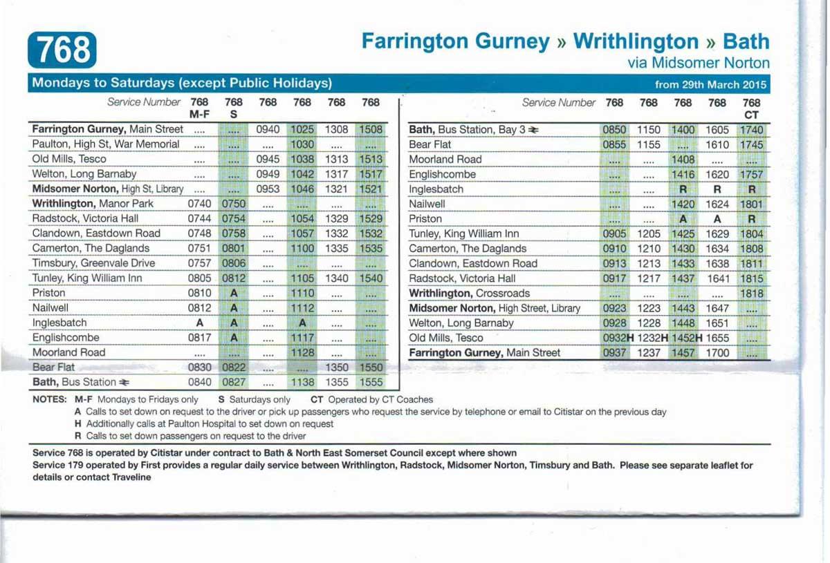 768 Bus Bath Timetable Ct Coaches