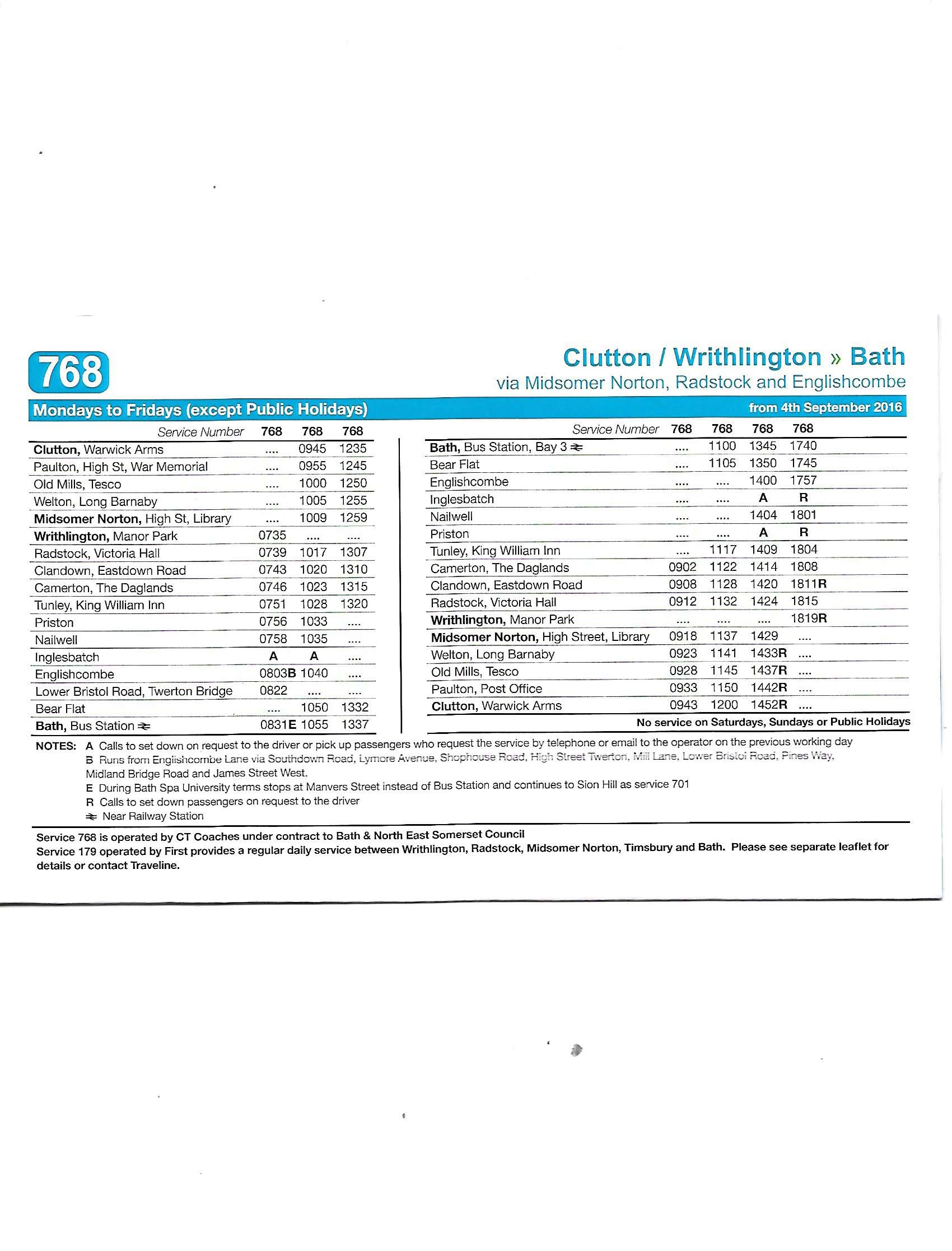 768 bus bath timetable - ct coaches